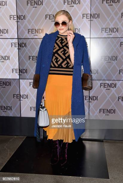 Chloe Grace Moretz attends the Fendi show during Milan Fashion Week Fall/Winter 2018/19 on February 22 2018 in Milan Italy