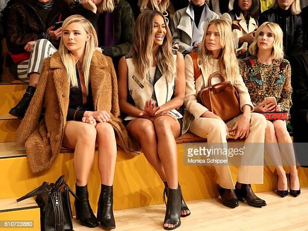 Chloe Grace Moretz Ciara Dree Hemingway and Emma Roberts attend the Coach Fall 2016 Runway Show on February 16 2016 in New York City