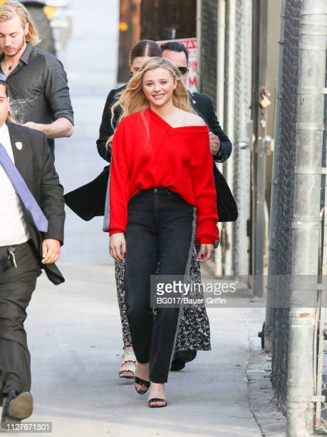 Chloe Grace Moretz is seen arriving at 'Jimmy Kimmel Live' on February 26, 2019 in Los Angeles, California.