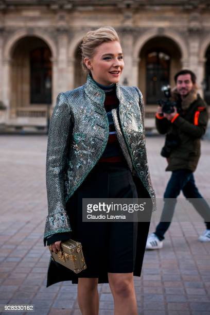 Chloe Grace Moretz is seen in the streets of Paris before the Louis Vuitton show during Paris Fashion Week Womenswear Fall/Winter 2018/2019 on March...