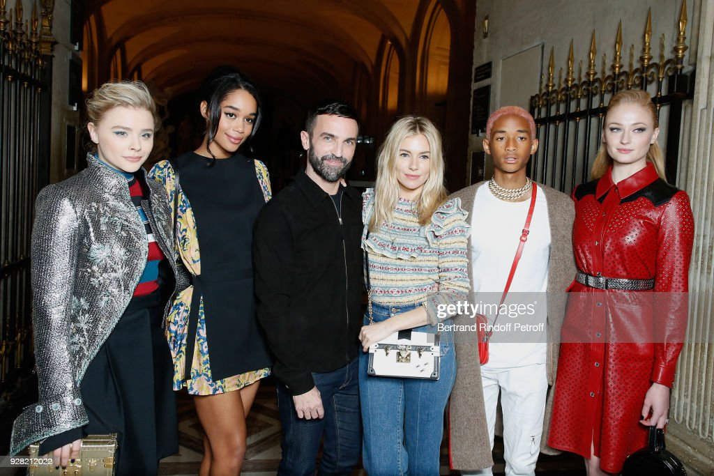 Chloe Grace Moretz, Laura Harrier, Stylist Nicolas Ghesquiere, Sienna Miller, Jaden Smith and Sophie Turner attend the Louis Vuitton show as part of the Paris Fashion Week Womenswear Fall/Winter 2018/2019 on March 6, 2018 in Paris, France.
