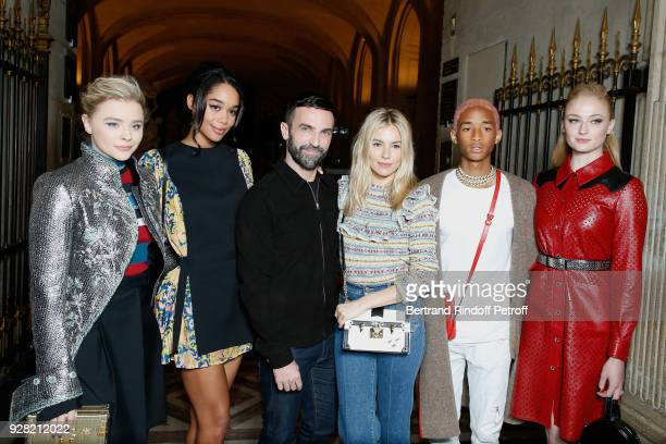 Chloe Grace Moretz Laura Harrier Stylist Nicolas Ghesquiere Sienna Miller Jaden Smith and Sophie Turner attend the Louis Vuitton show as part of the...