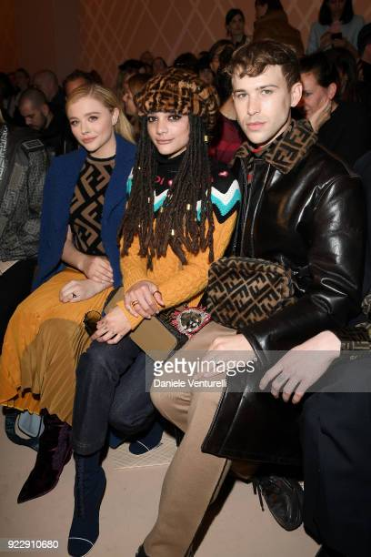 Chloe Grace Moretz Sasha Lane and Tommy Dorfman attend the Fendi show during Milan Fashion Week Fall/Winter 2018/19 on February 22 2018 in Milan Italy