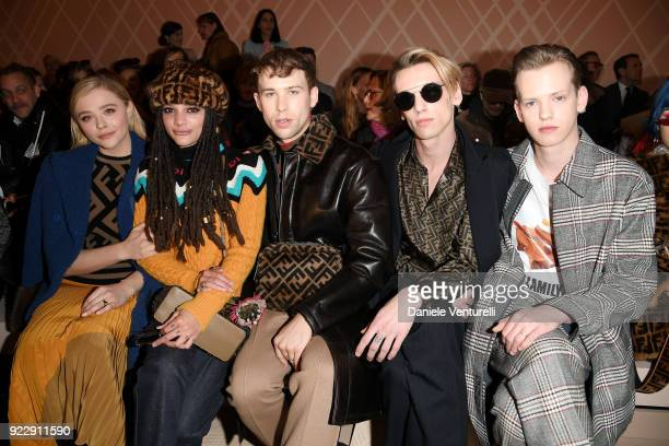 Chloe Grace Moretz Sasha Lane Tommy Dorfman Jamie Campbell Bower and Sam Bower attend the Fendi show during Milan Fashion Week Fall/Winter 2018/19 on...