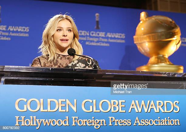 Chloe Grace Moretz speaks onstage during the 73rd Annual Golden Globe Awards nominations announcement held at The Beverly Hilton Hotel on December 10...