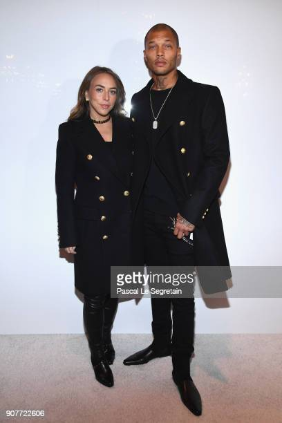 Chloe Green and Jeremy Meeks attend the Balmain Homme Menswear Fall/Winter 20182019 show as part of Paris Fashion Week on January 20 2018 in Paris...