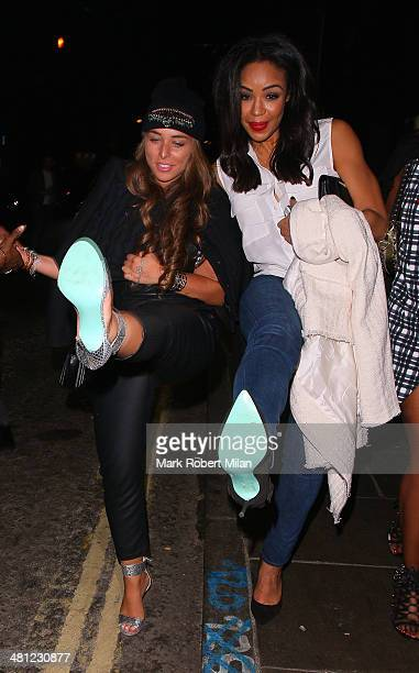 Chloe Green and SarahJane Crawford at Chakana night club on March 28 2014 in London England