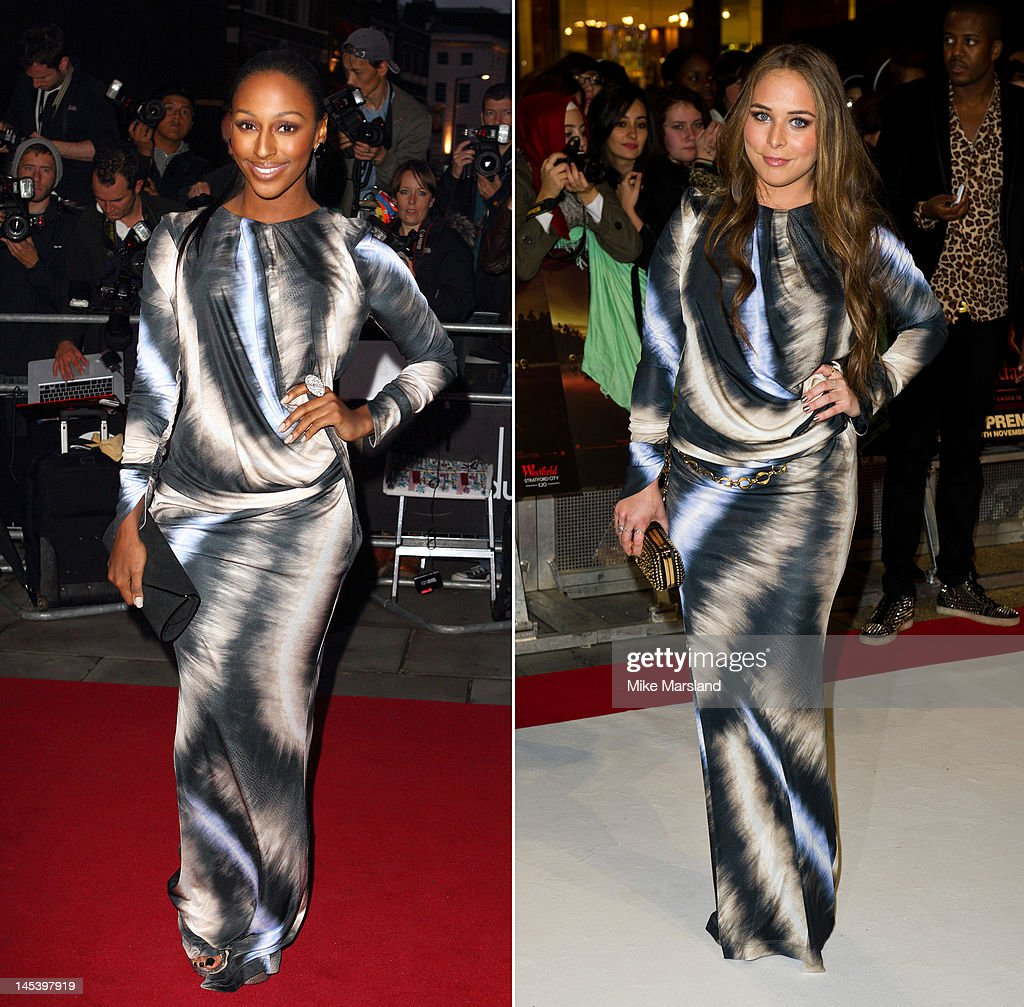 In this composite image a comparison has been made between Alexandra Burke (L) and Chloe Green (R) for a Celebrity Same Dresses feature. Alexandra Burke arrives at the GQ Men Of The Year Awards at The Royal Opera House on September 6, 2011 in London, England. LONDON, ENGLAND - NOVEMBER 16: Chloe Green attends the UK premiere of The Twilight Saga: Breaking Dawn Part 1 at Westfield Stratford City on November 16, 2011 in London, England.