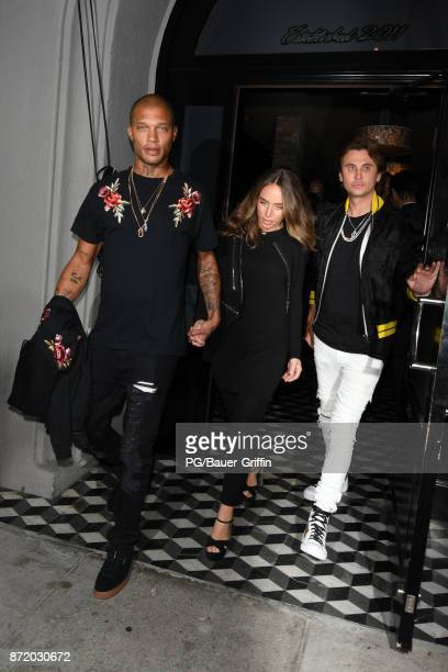 Chloe Green Jeremy Meeks and Jonathan Cheban also known as Food God leaving Craig's Restaurant on November 08 2017 in Los Angeles California