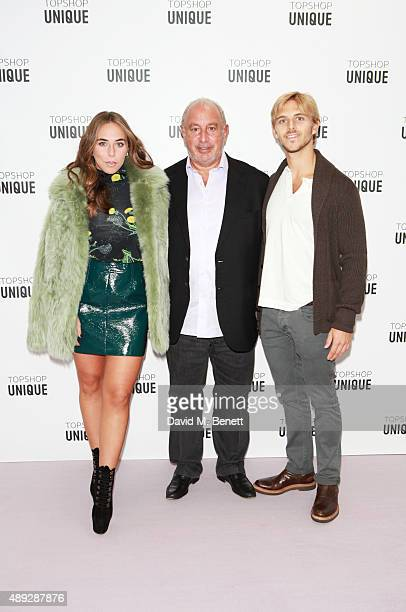 Chloe Green Sir Philip Green and Brandon Green arrive at the Topshop Unique show during London Fashion Week SS16 at The Queen Elizabeth II Conference...