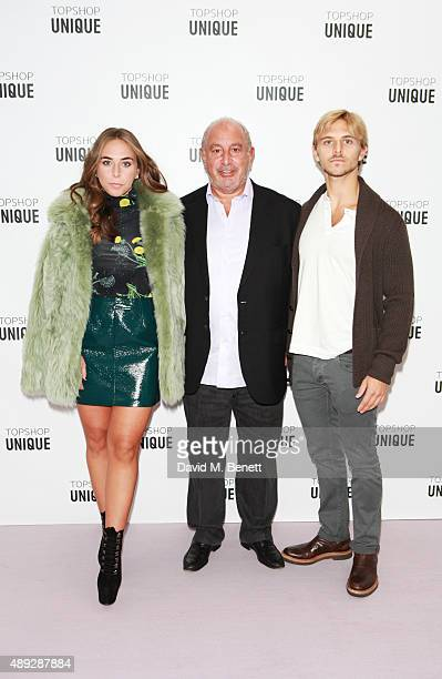 Chloe Green, Sir Philip Green and Brandon Green arrive at the Topshop Unique show during London Fashion Week SS16 at The Queen Elizabeth II...