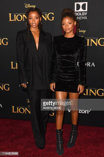 Chloe Halle Bailey from US duo Chloe X Halle arrive for the world premiere of Disney's The Lion King at the Dolby theatre on July 9 2019 in Hollywood