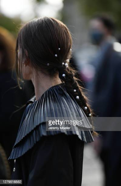 Chloe Harrouche seen wearing a complete Chanel look outside Chanel during Paris Fashion Week - Womenswear Spring Summer 2021 : Day Nine on October...
