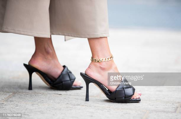 Chloe Harrouche seen wearing shoes LIDO PS20 outside the Sportmax show during Milan Fashion Week Spring/Summer 2020 on September 20 2019 in Milan...