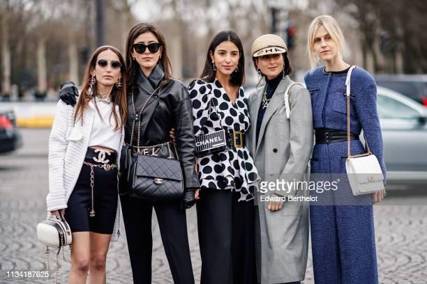 Chloe Harrouche Sylvia Haghjoo Bettina Looney Julia Haghjoo Linda Tol are seen outside Chanel during Paris Fashion Week Womenswear Fall/Winter...