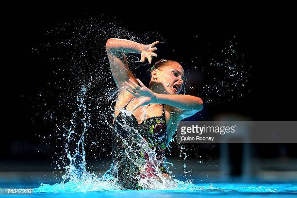 Chloe Isaac of Canada competes in the Synchronized Swimming Solo Free final on day five of the 15th FINA World Championships at Palau Sant Jordi on...
