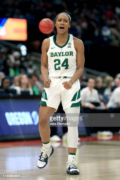 Chloe Jackson of the Baylor Lady Bears celebrates the play against the Oregon Ducks during the fourth quarter in the semifinals of the 2019 NCAA...