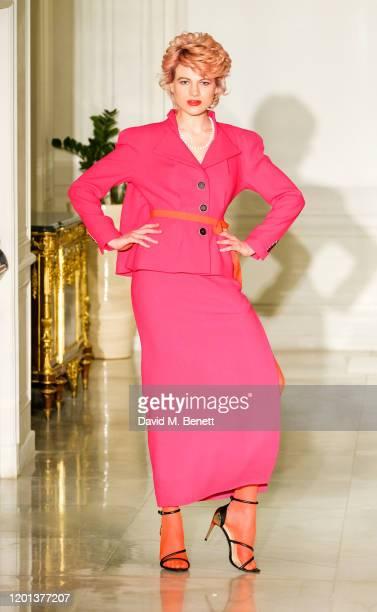 Chloe Jasmine attends the Kolchagov Barba show during London Fashion Week February 2020 at Melia White House Hotel on February 16 2020 in London...