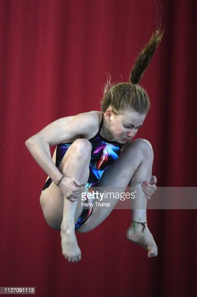 Chloe Johnson of City of Leeds Diving Club takes a dive during Day Three of the British National Diving Cup 2019 at the Life Centre on February 03...