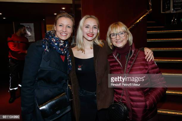 Chloe Jouannet standing between her mother Alexandra Lamy and her grandmother Michele Lamy attend 'Les Monologues du Vagin The Vagina Monologues'...
