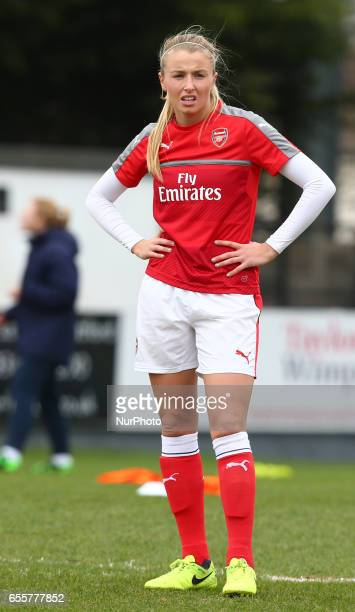 Chloe Kelly of Arsenal Ladies during The SSE FA Women's Cup Fifth Round match between Arsenal Ladies against Tottenham Hotspur Ladies at Meadow Park...