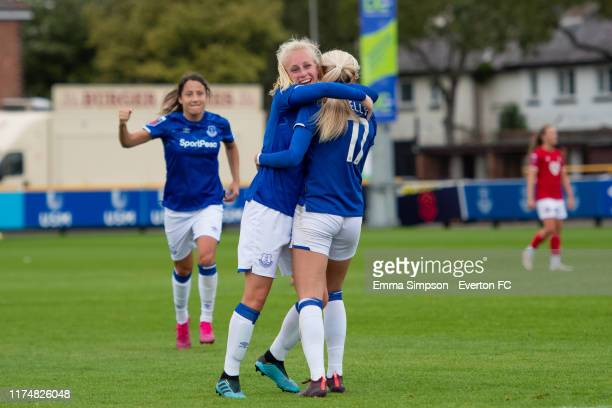 Chloe Kelly of Everton celebrates goal with team mate Inessa Kaagman during the Barclays FA Women's Super League match between Everton and Bristol...
