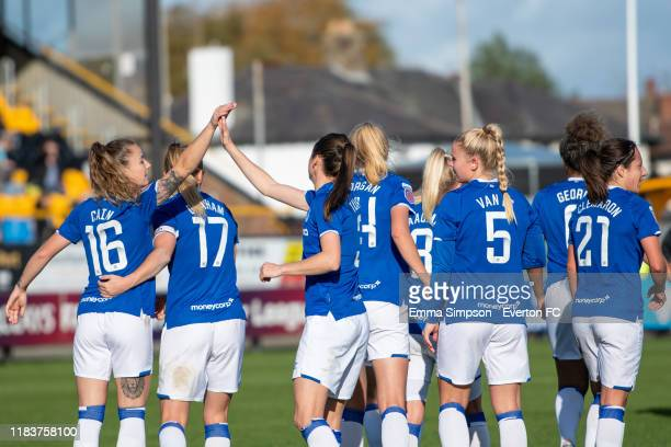 Chloe Kelly of Everton celebrates goal with team mates during the Barclays FA Women's Super League match between Everton and Brighton Hove Albion at...