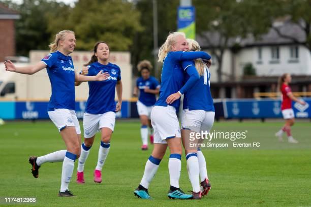 Chloe Kelly of Everton celebrates goal with team mates Esme Morgan Maeva Clemaron and Inessa Kaagman during the Barclays FA Women's Super League...