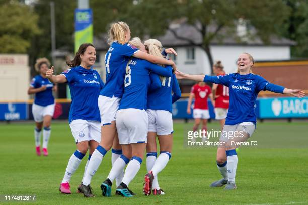 Chloe Kelly of Everton celebrates goal with team mates Maeva Clemaron Esme Morgan Inessa Kaagman and Molly Pike during the Barclays FA Women's Super...
