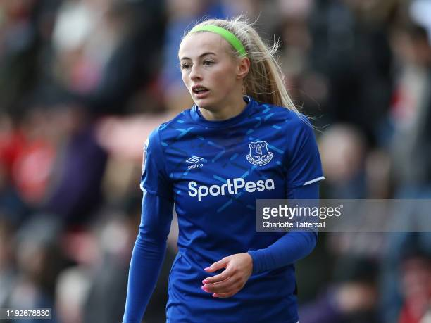Chloe Kelly of Everton reacts during the Barclays FA Women's Super League match between Manchester United and Everton at Leigh Sports Village on...