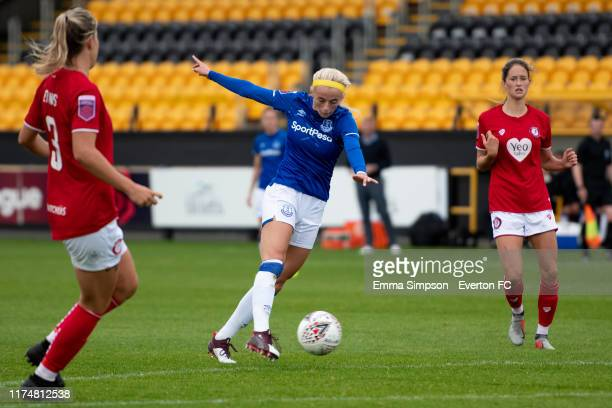 Chloe Kelly of Everton shoots to score during the Barclays FA Women's Super League match between Everton and Bristol City at Haig Avenue on September...