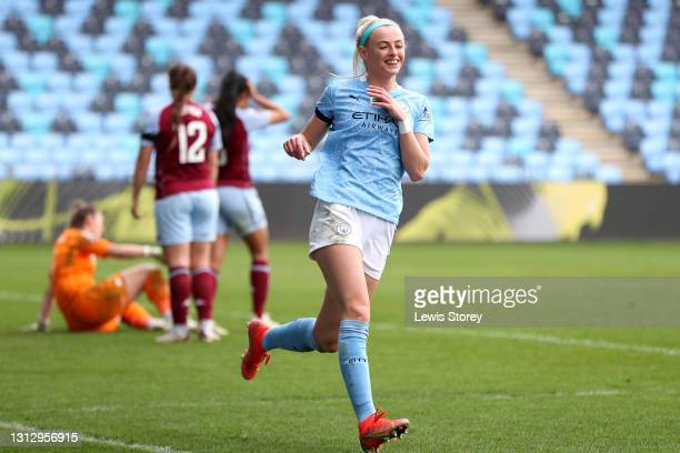 Chloe Kelly of Manchester City celebrates after scoring their team's seventh goal during the Vitality Women's FA Cup Fourth Round match between...