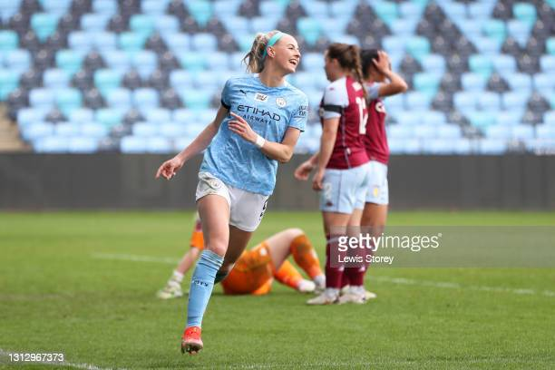 Chloe Kelly of Manchester City celebrates after scoring their team's seventh goal and her hat-trick during the Vitality Women's FA Cup Fourth Round...