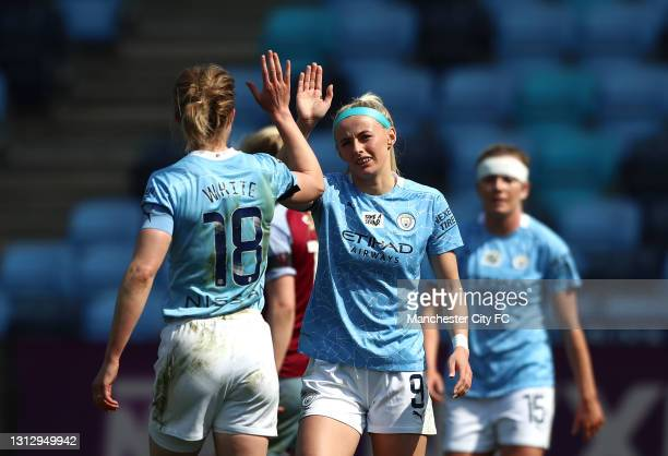 Chloe Kelly of Manchester City celebrates scoring her second goal during the Vitality Women's FA Cup Fourth Round match between Manchester City Women...