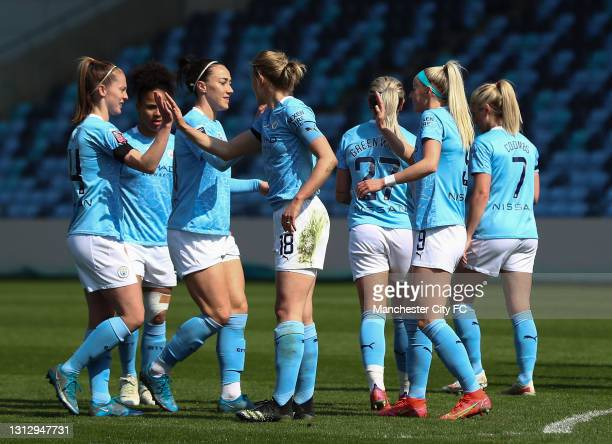 Chloe Kelly of Manchester City celebrates scoring her teams first goal during the Vitality Women's FA Cup Fourth Round match between Manchester City...