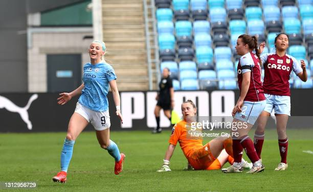 Chloe Kelly of Manchester City celebrates scoring her third goal during the Vitality Women's FA Cup Fourth Round match between Manchester City Women...