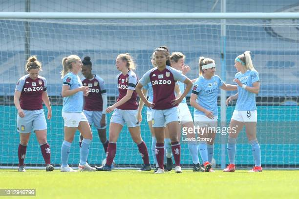 Chloe Kelly of Manchester City celebrates with teammate Lauren Hemp after scoring their team's first goal during the Vitality Women's FA Cup Fourth...