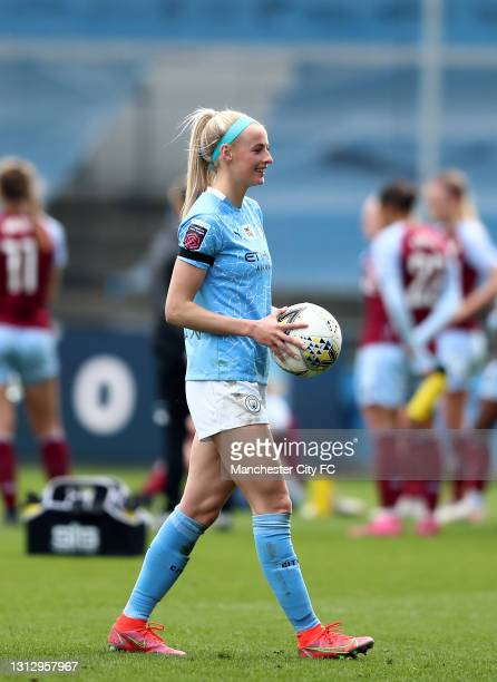 Chloe Kelly of Manchester City leaves the pitch with the match ball after scoring three goals during the Vitality Women's FA Cup Fourth Round match...