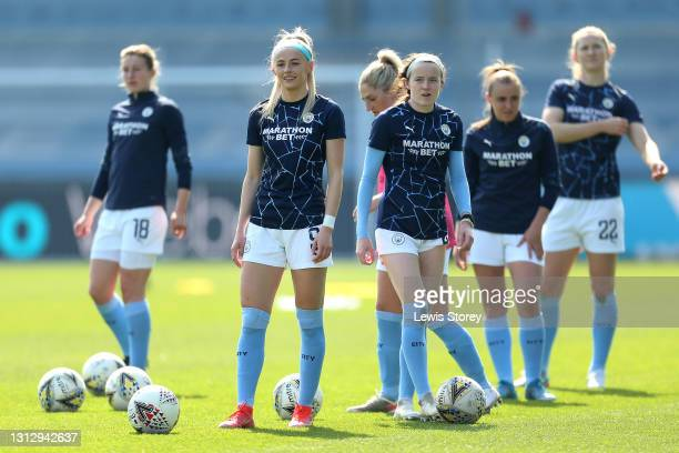Chloe Kelly of Manchester City looks on during her warm up prior to the Vitality Women's FA Cup Fourth Round match between Manchester City Women and...