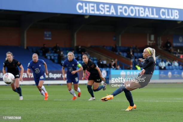 Chloe Kelly of Manchester City scores her sides first goal from the penalty spot during the Barclays FA Women's Super League match between Chelsea...