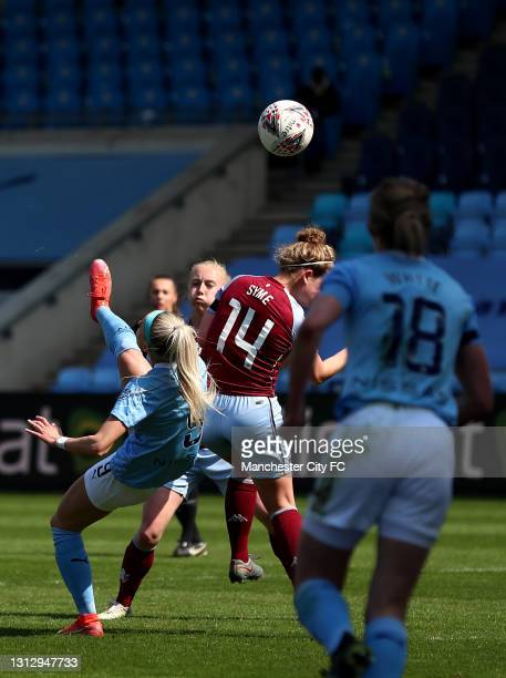 Chloe Kelly of Manchester City scores her teams first goal during the Vitality Women's FA Cup Fourth Round match between Manchester City Women and...