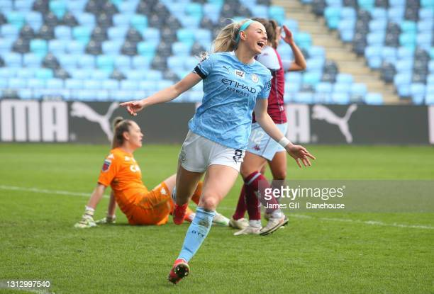 Chloe Kelly of Manchester City Women celebrates after scoring her third goal to complete her hat-trick during the Vitality Women's FA Cup Fourth...