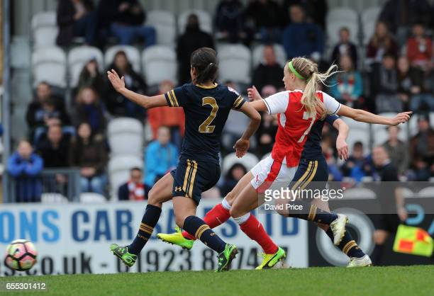 Chloe Kelly scores Arsenal Ladies 7th goal during the match between Arsenal Ladies and Tottenham Hotspur Ladies on March 19 2017 in Borehamwood...