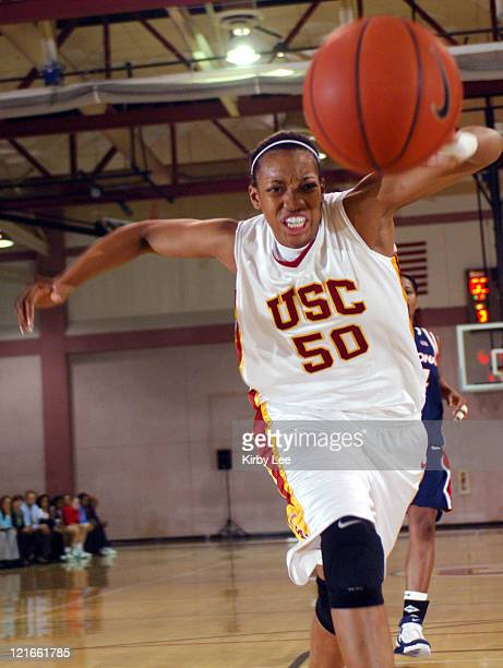 Chloe Kerr of USC chases a loose ball during 7660 victory over Arizona in Pacific10 Conference women's basketball game at the Lyon Center in Los...