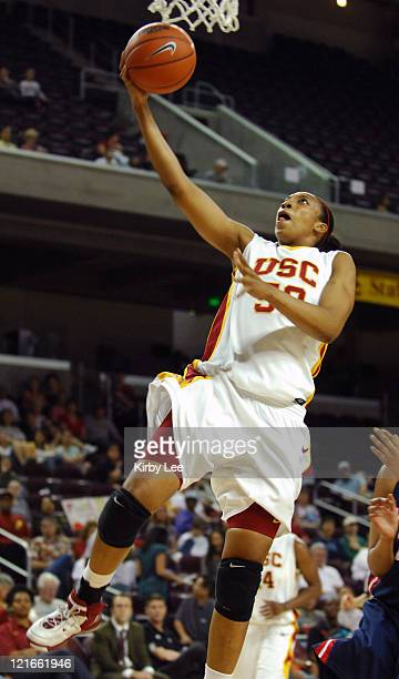 Chloe Kerr of USC goes up for a layup during 6642 victory over Arizona in Pacific10 Conference women's basketball game at the Galen Center in Los...
