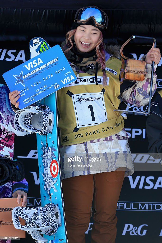 Chloe Kim celebrates a first place finish in the ladies' FIS Snowboard World Cup at the 2016 U.S Snowboarding Park City Grand Prix on February 6, 2016 in Park City, Utah.