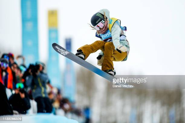 Chloe Kim competes during Women's Halfpipe finals at the Burton US Open Championships at Golden Peak on March 2 2019 in Vail Colorado