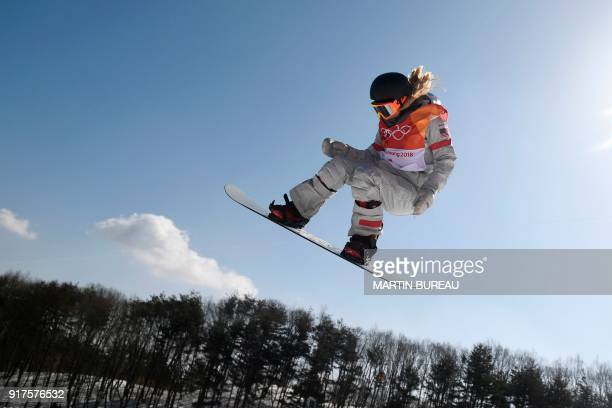 Chloe Kim competes in run 3 of the women's snowboard halfpipe final event at the Phoenix Park during the Pyeongchang 2018 Winter Olympic Games on...