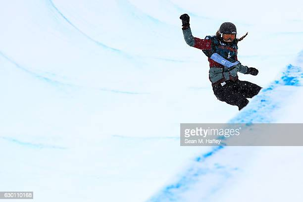 Chloe Kim competes in the final round of the FIS Snowboard World Cup 2017 Ladies' Snowboard Halfpipe during The Toyota U.S. Grand Prix at Copper...