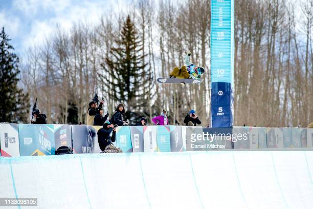 Chloe Kim competes in the Women's Halfpipe semi-finals during the Burton U.S. Open Championships at Golden Peak on February 28, 2019 in Vail,...